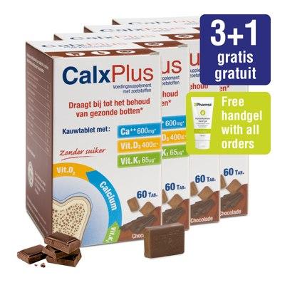 Pakket CalxPlus (4 x 60 tabletten) chocolade