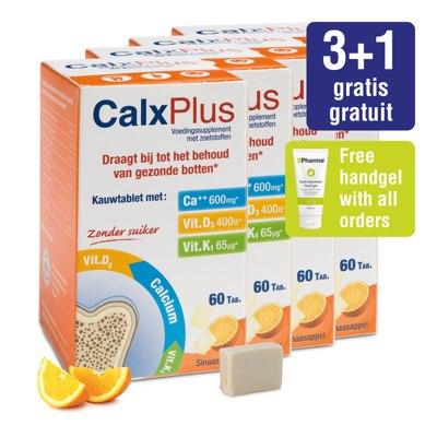 Pakket CalxPlus (4 x 60 tabletten) sinaasappel